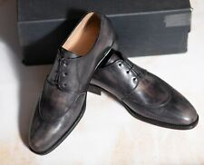 NWB $1750 KITON  Derby Gray Shoes 7UK/8US/41EU  G Width Handpainted