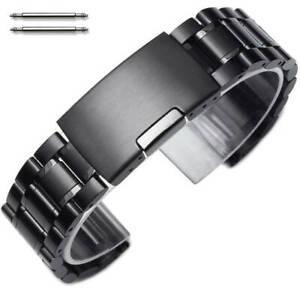 Steel Metal Bracelet Replacement Watch Band Strap PVD Black Push Button #5016