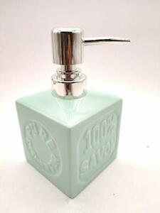 Ceramic Premium Cube Shape Liquid Soap Dispenser Green 250 ml