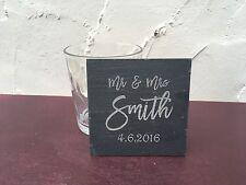 Engraved Slate - Pair of Personalised Mr & Mrs Coasters - Wedding Gift