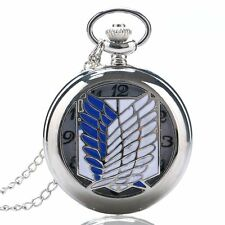White Blue Wings Silver Hollow Quartz Necklace Pendent Pocket Watch Mens P430