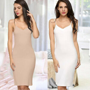 Women Sexy Cotton Long Spaghetti Strap Full Slip Camisole Under Dress Liner US