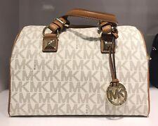 MICHAEL Michael Kors Medium Grayson Vanilla MK LOGO Satchel Bag
