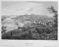 MISSOURI WESTON GATE TO NEW WEST TOWN ~ Antique 1855 Art Print Engraving  RARE!
