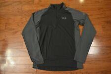 Men's Mountain Hardwear Ls 1/4 Zip Mock Neck Base Layer Shirt Gray Small