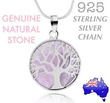 Natural Stone Rose Quartz Tree of Life Pendant 925 Sterling Silver Necklace Gift