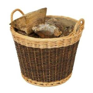 Round Wicker Basket Handle Laundry Willow Woven Storage Log Kindling Vintage