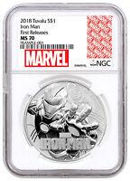 2018 Tuvalu Iron Man 1 oz Silver Marvel Srs $1 Coin NGC MS70 FR SKU53475