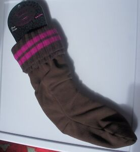 Steve Madden Boot Liners One Size Brown Fuchsia Ribbed Turn Cuff One Pair