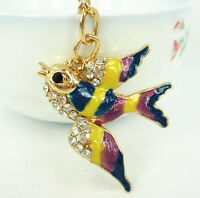 Swallow Bird Fly Lovel Pendent Charm Chain Rhinestone Crystal Purse Bag Key Ring