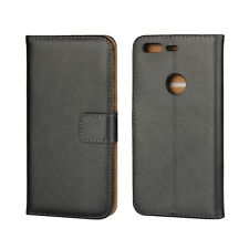 "for Google Pixel 5"" Black Genuine Leather Business Wallet Flip Case Cover Stand"