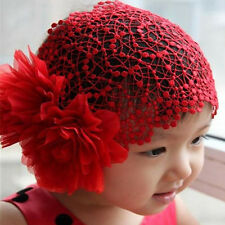 Red Baby Girls Lace Hat Big Flowers Sewing Cap Headband accessories Lovely 1-6Y