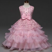 Girl's Beaded Dress Princess Layered Tiered Dresses Piano Performance Ball Gown