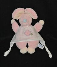 Peluche doudou souris rose AJENA robe lange blanc fleur brodée 24 cm TTBE