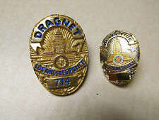 Vintage Lot Dragnet Detective City of Los Angeles Silver Gold Tone Badge Pins