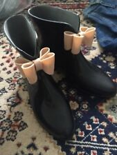 Henry Ferrera Rain Boots Black With Pink/cream size 7 Cute