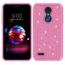 LG K30 Case (X410) +More Phone Case HD Screen Protector Cute Glitter Bling Pink