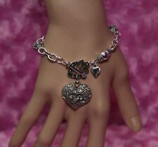 Burnished Silver with Rhinestone Accents Victorian Heart & Toggle Charm Bracelet
