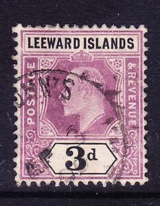 LEEWARD IS EVII 1908 SG33a 3d dull purple & black chalky wmk MCA f/u. Cat £100