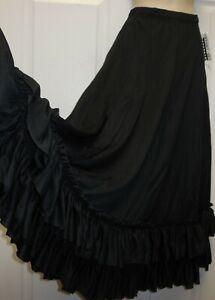 Black Double Ruffle Dance Flamenco Skirt Drawstring Waist over 30 available NWT
