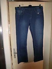 Damen-Strech-Jeans-Hose in blau mit weißen Nähten, große Größe 46/48