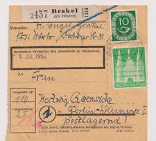 Bizone/Bauten, 97II MiF 128, Paketkarte Brakel Kr Höxter, 14.6.52