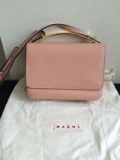 NWT $1660 Marni Triple Gusset Shoulder Bag with Metal Handle Rose