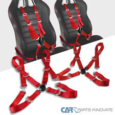 2x Red 4 Pt Point Camlock Safety Harness Racing Seat Belt