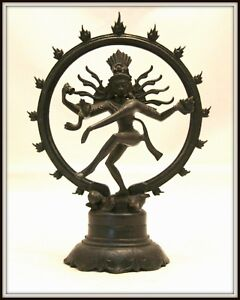 """Dynamic! """"Bronze Shiva from India"""" Black Patina  (8"""" H x 6"""" W) Intricate Detail"""
