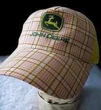 John Deere Trucker Hat Mesh Back Adjustable Cap Yellow Pink Plaid Unique Gift