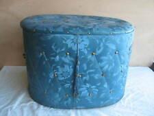 alte Wäschetruhe 50er 60er Jahre Blumendekor blau  #