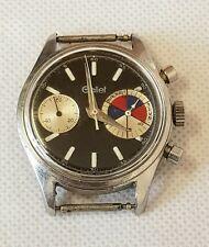 Raro 1960s Gallet Big Eye Negro Cronógrafo Reloj MultiChron Yachting, trabajando