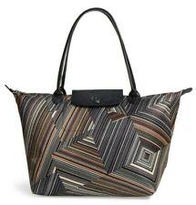 NWT Longchamp Op Art Le Pliage Large Nylon Shoulder Tote Bag Khaki $265