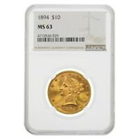 1894 $10 Liberty Head Gold Eagle Coin NGC MS 63
