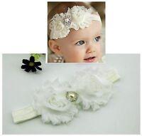 Newborn Baby Girl Christening Shabby Flower White Headband Wedding 0-18mos