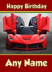 Personalised Ferrari Birthday Card Super Sports Car Son Grandson Nephew