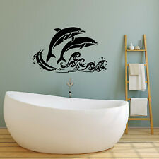 Vinyl Wall Decal Sea Waves Fish Dolphins Nautical Style Stickers (4249ig)