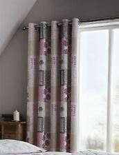 """PATCHWORK FLORAL PINK BEIGE GREY 66X72"""" 168X183CM LINED RING TOP CURTAINS DRAPES"""