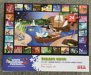 "WHITE MOUNTAIN 24 Piece ""PIRATE COVE"" PUZZLE Karen Rossi Art 11""x15"""