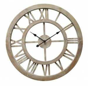 60cm Wall Clock Large Round Hamptons Style Distressed Floating Big Gift Cafe