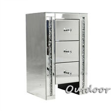 Bedside Cabinet 3 Drawers Glass Crystal Bedroom Contemporary Mirrored Furniture