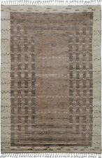 Tribal Geometric Moroccan Natural Dye Hand-Knotted Oriental Wool Area Rug 5x8