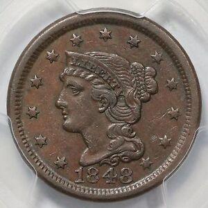 1848 N-24 R-4+ PCGS XF 45 Braided Hair Large Cent Coin 1c