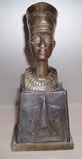 "ART DECO EGYPTIAN REVIVAL QUEEN NEFERTITI METAL BUST 8 1/2"" TALL"