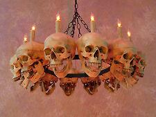 Life-Size Skull Chandelier w/ 12 Skulls, Halloween Prop, Human Skeletons, NEW
