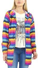 New Ladies Rainbow Stripe Print Shower Proof Hooded Mac Fishtail Raincoat Jacket