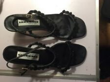 Womans Heels Size 8.5 Strappy Black Leather Shoes Adjustable Size Straps Sandals