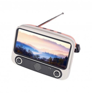 3 in1 Portable Retro TV Shaped BT Mobile Phone Holder With Wireless Bass Speaker