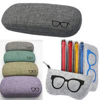 New Portable Hard Linen Eye Glasses Protector Eyewear Case Sunglasses Box ch