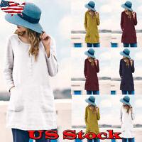 US Womens Casual Long Sleeve Loose Fashion Blouse Ladies Pocket Shirts Tops New